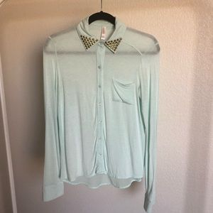 Sea foam green sheer top